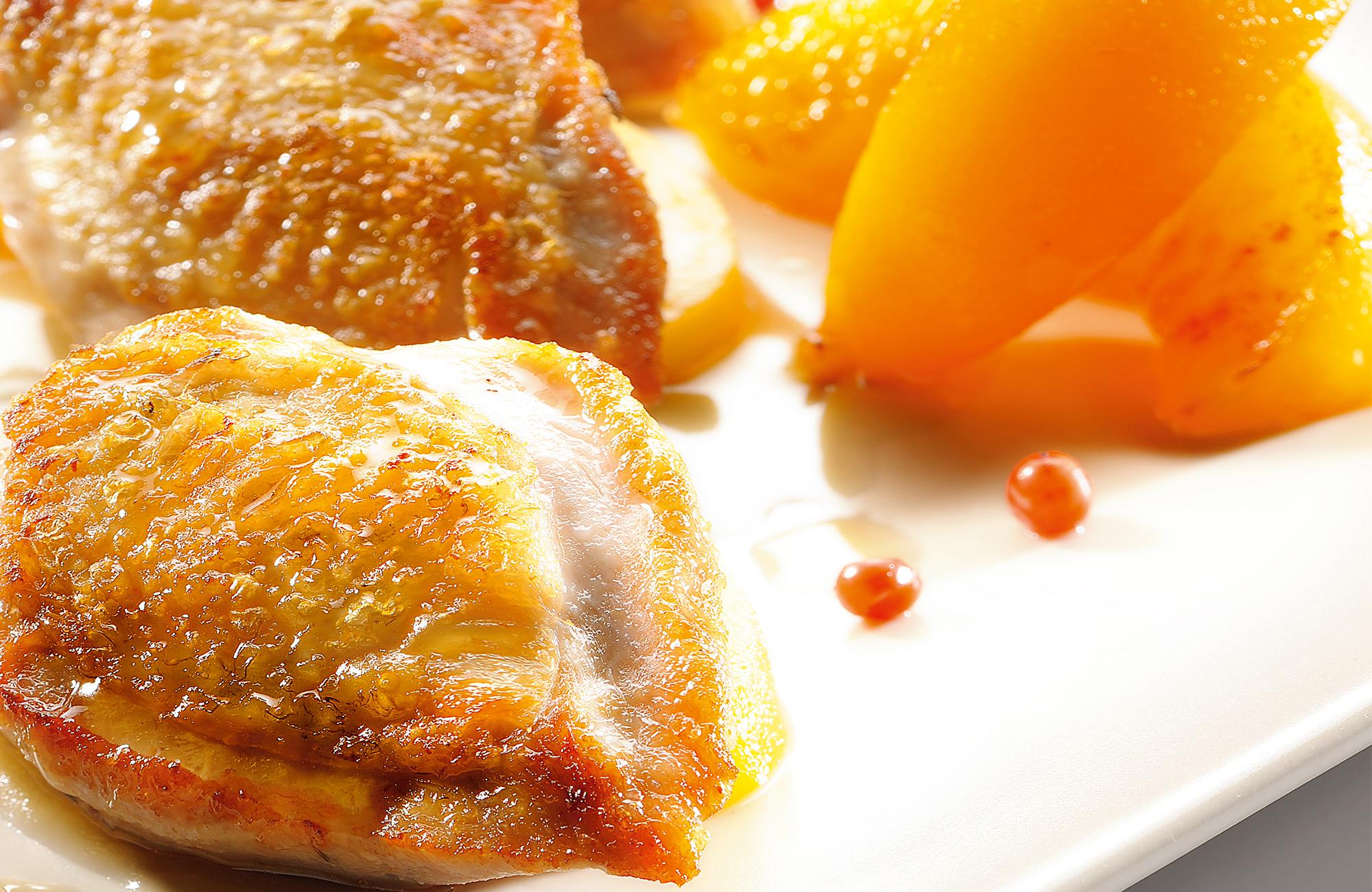 Petto di quaglia con miele, pesche e Aceto di Vino Classico Bianco Ponti
