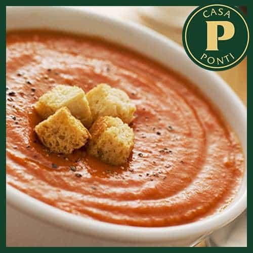 Zuppa fredda di pomodoro di Piacenza, erba cipollina e Aceto Balsamico di Modena IGP Ponti Invecchiato 3 anni