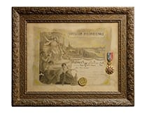 """Diploma of Honour for """"wine and vinegar"""" at the International Exhibition in Paris"""