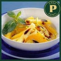 Piña y naranja con azúcar de caña y Glassa Gastronómica Ponti