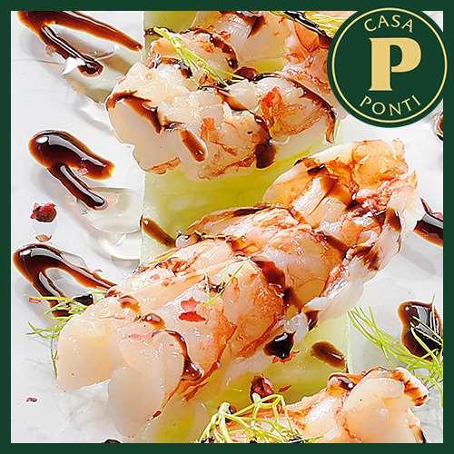 Cangrejo al vapor marinado en pimienta rosa y Glassa Gastronómica Ponti