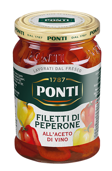 Pepper Strips in Wine Vinegar - Ponti