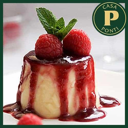 Bavarese di lamponi con gelatina all'Aceto Balsamico di Modena IGP Ponti e zabaione di pistacchi