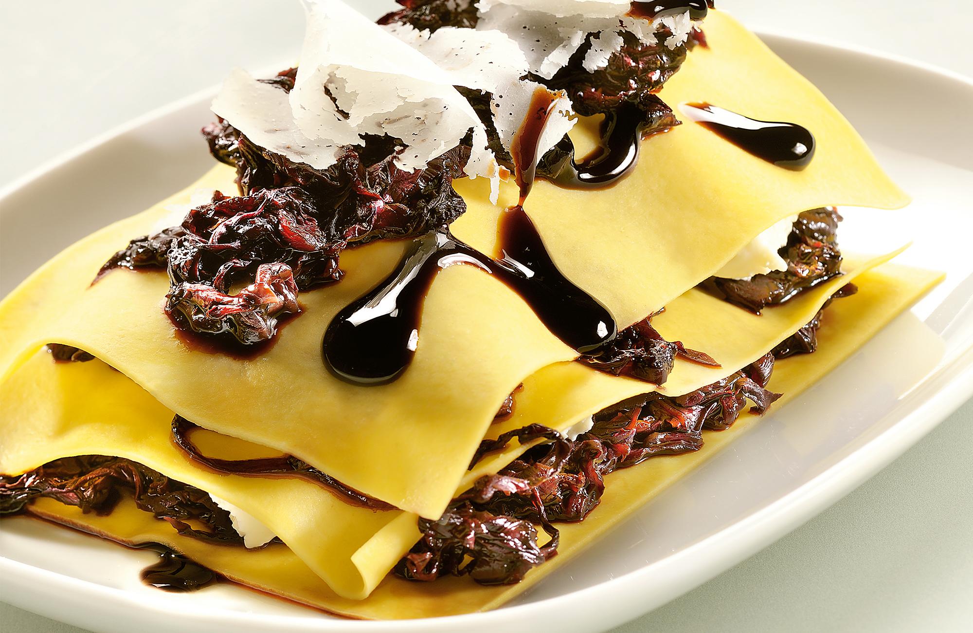 Lasagnette al radicchio, robiola e Aceto Balsamico di Modena IGP Ponti