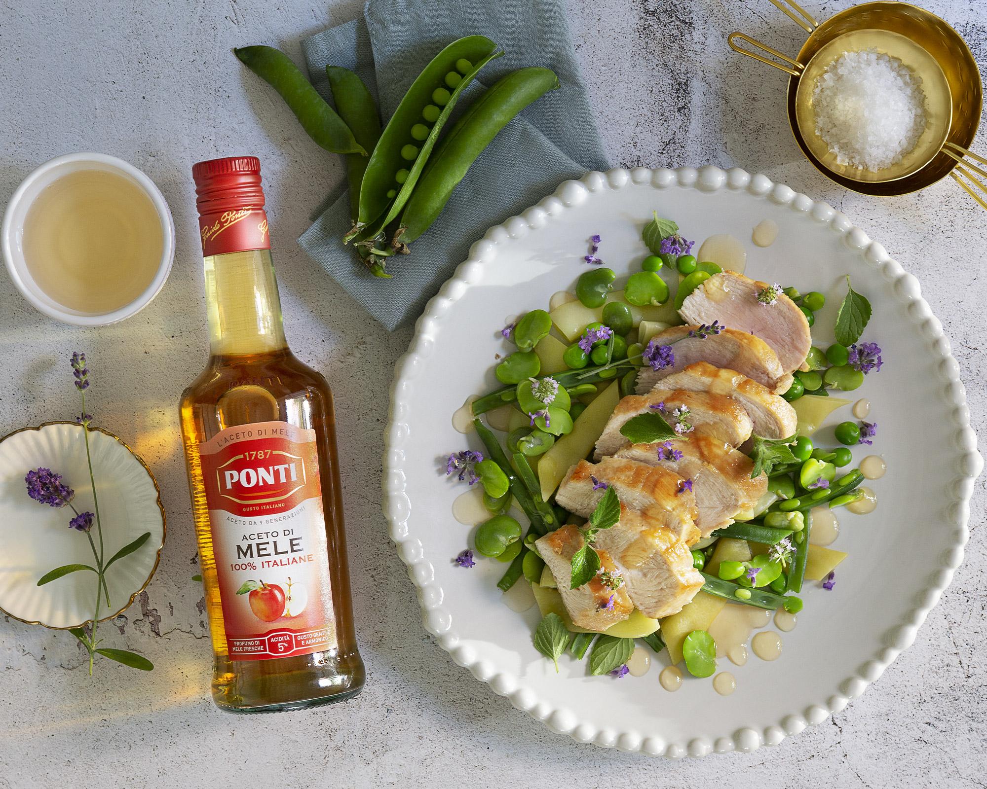 Misto verde fagiolini fave piselli e taccole pollo spadellato all'agro - Ponti