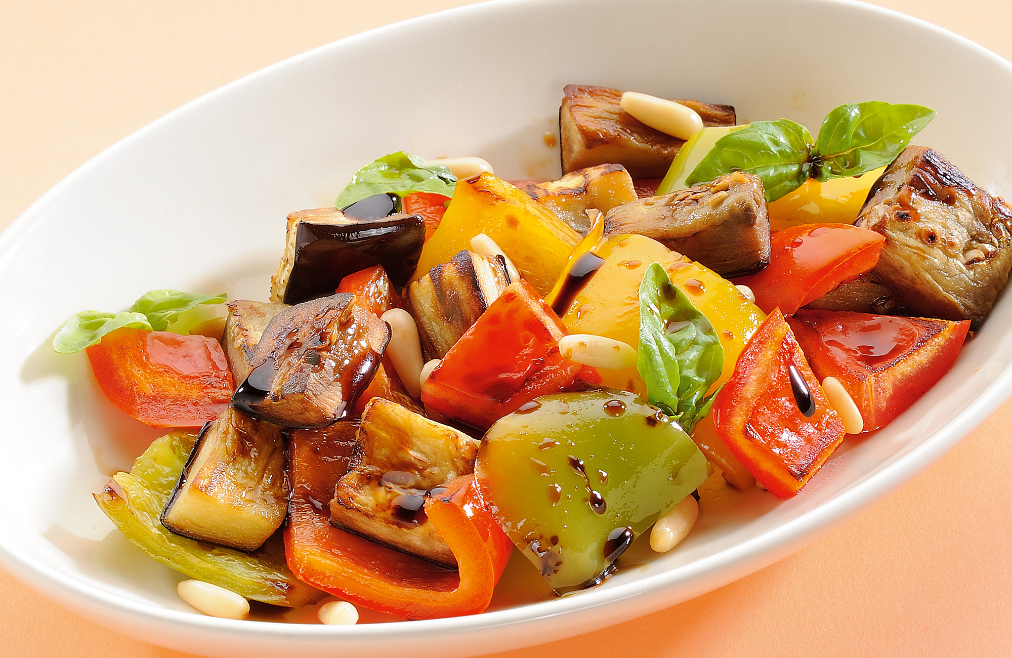 Peppers and aubergines with pine seeds and Balsamic Vinegar of Modena P.G.I. - Ponti