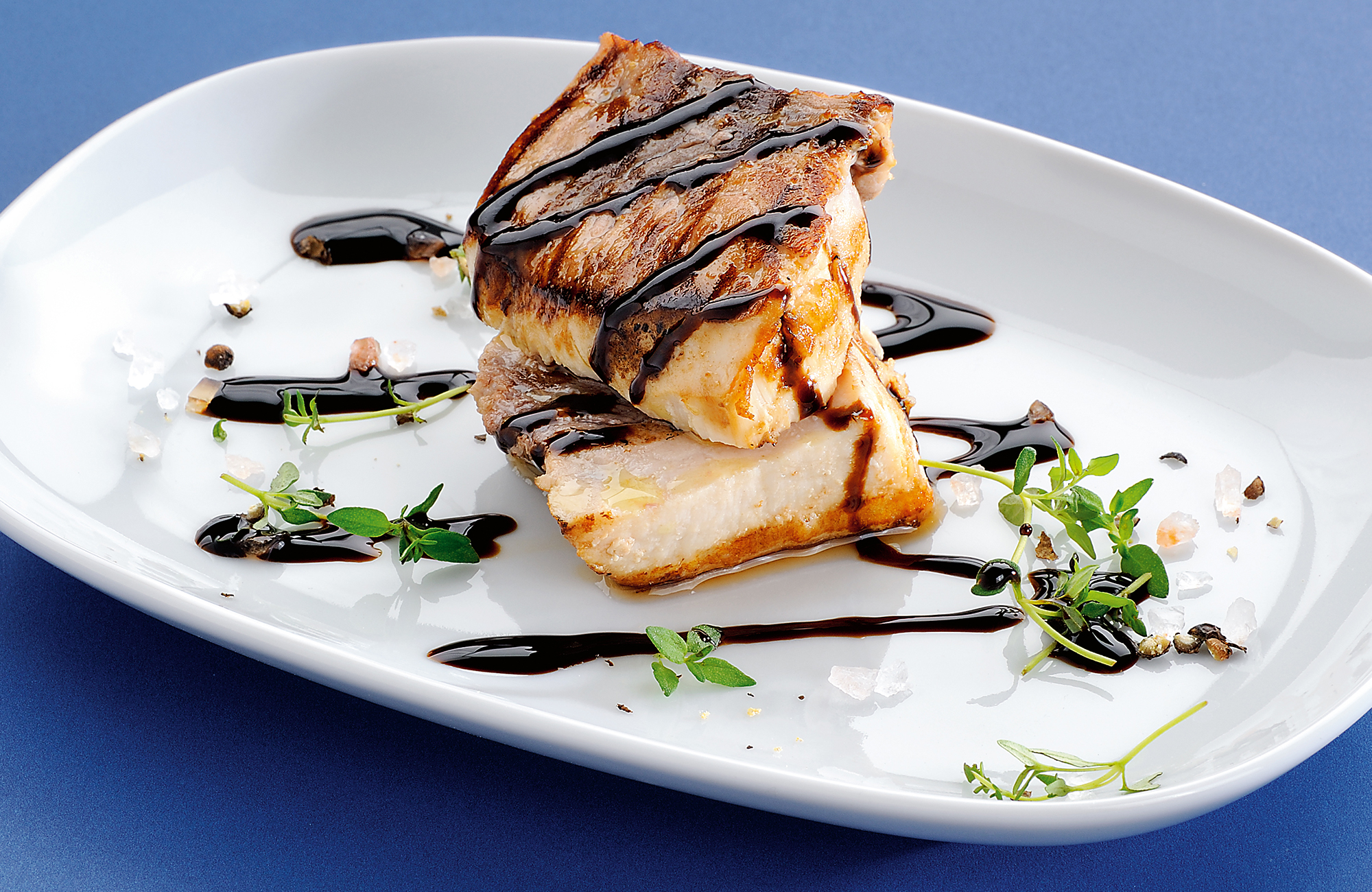 Grilled swordfish with fresh thyme and Balsamic Vinegar of Modena P.G.I. Glaze - Ponti