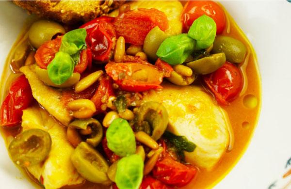 Pesce spada in guazzetto mediterraneo con Pomodori Secchi Zero Olio - Ponti