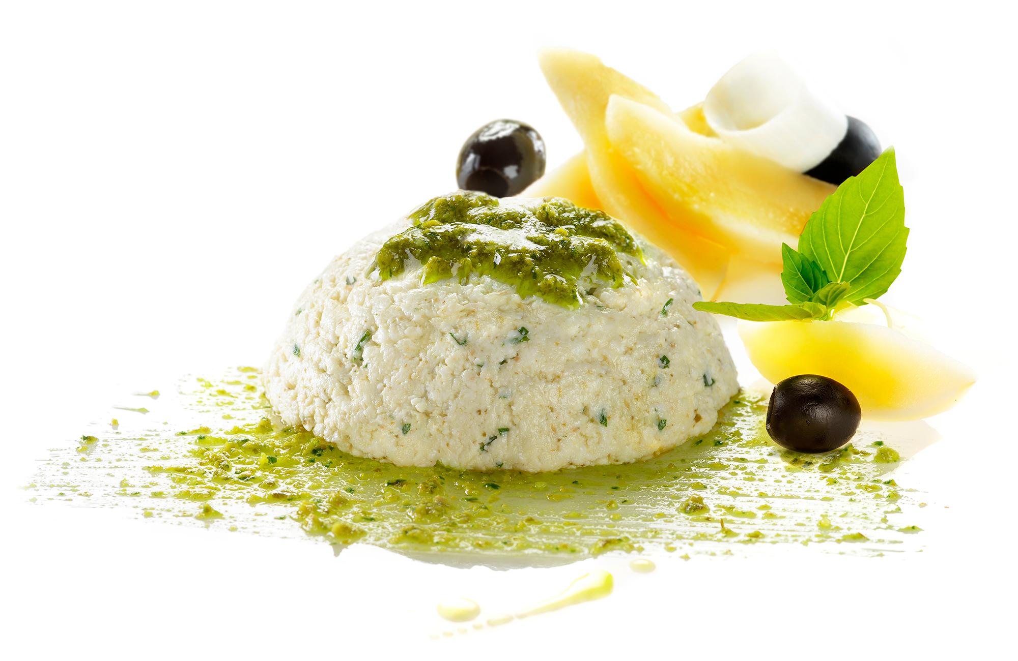 Ricottine al Pesto alla Genovese Ponti con olive nere, porri e patate
