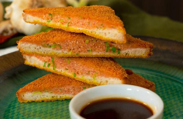 Salsa agrodolce con toast di gamberi - Ponti