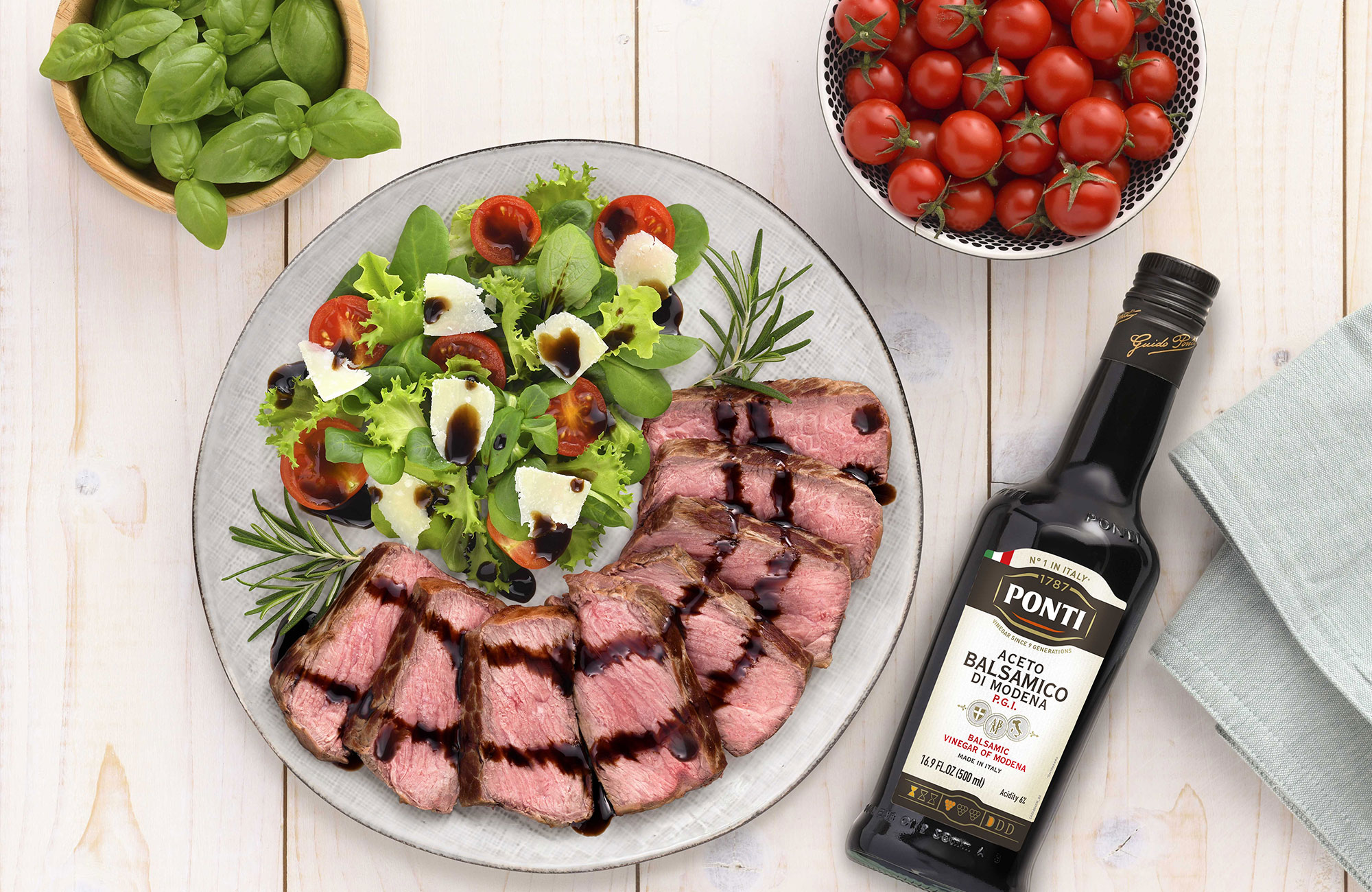 Sirloin beef steak with Ponti Balsamic Vinegar of Modena P.G.I. - Ponti