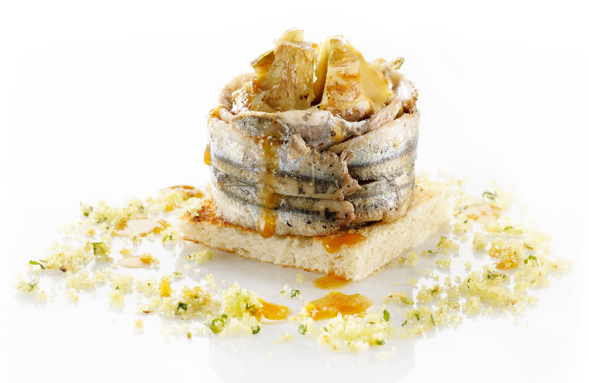 Pie made with Pepper and Lemon Zero Olio Artichokes with flavoured bread and anchovies - Ponti